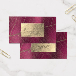 Pink Raspberry Sepia Gold Foil Botanical Delicate Business Card