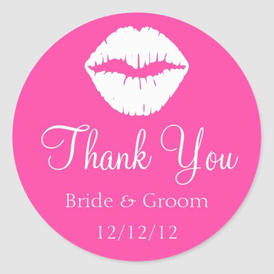 Pink Raspberry Sherbet and White Lips Thank You Classic Round Sticker