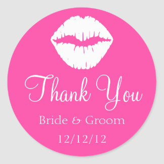 Pink Raspberry Sherbet and White Lips Thank You Round Sticker