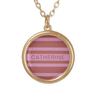 Pink / Raspberry Stripes custom name necklace