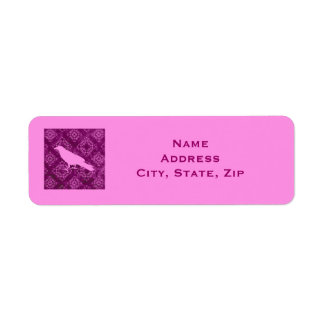 Pink raven on pink and purple damask personalized return address label