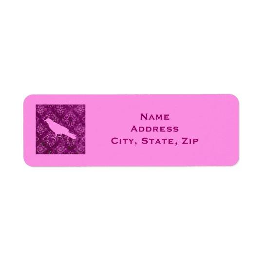Pink raven on pink and purple damask personalized return address label