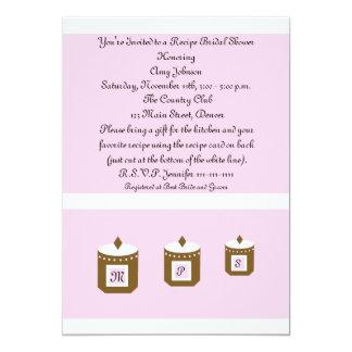 Pink Recipe Card Recipe Bridal Shower Invitation