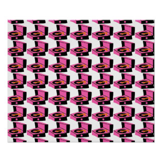 Pink Record Player Houndstooth Poster