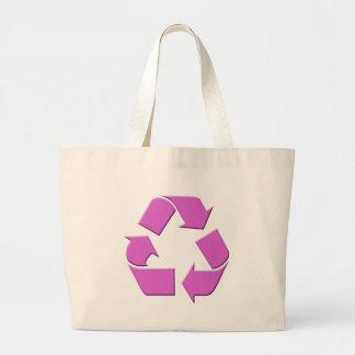 Pink Recycle Symbol Large Tote Bag