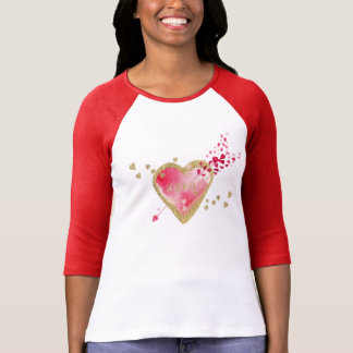 Pink Red and Gold Effect Heart with Arrow T-Shirt