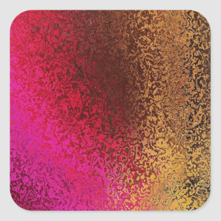 Pink Red And Gold Pattern Square Sticker