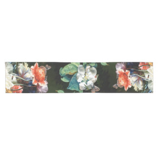 PINK RED ANEMONES WHITE FLOWERS,BUTTERFLY IN BLACK SHORT TABLE RUNNER
