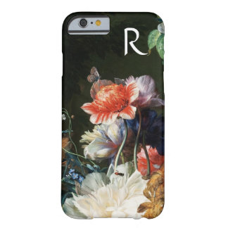 PINK RED ANEMONES WHITE FLOWERS,BUTTERFLY MONOGRAM BARELY THERE iPhone 6 CASE