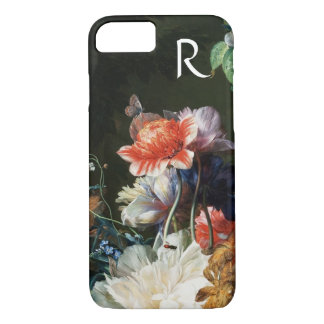 PINK RED ANEMONES WHITE FLOWERS,BUTTERFLY MONOGRAM iPhone 8/7 CASE
