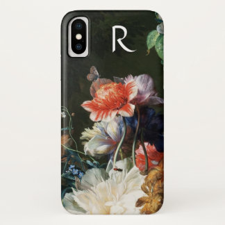 PINK RED ANEMONES WHITE FLOWERS,BUTTERFLY MONOGRAM iPhone X CASE