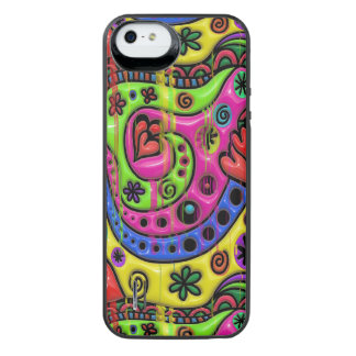 Pink Red Blue and Green Hearts Stars and Flowers iPhone SE/5/5s Battery Case