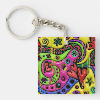 Pink Red Blue and Green Hearts Stars and Flowers Keychain