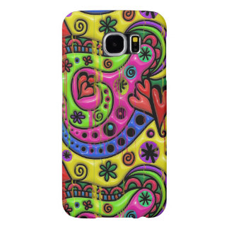 Pink Red Blue and Green Hearts Stars and Flowers Samsung Galaxy S6 Case