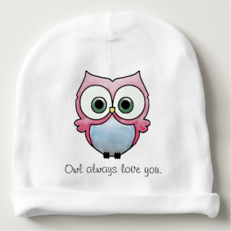 """Pink, red, blue Owl """"Owl always love you"""" Baby Beanie"""