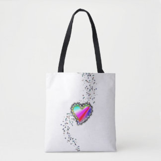 Pink Red Blue Rainbow Heart with Stars Tote Bag