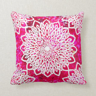 Pink Red Bougainvillea and White Mandala Pillow
