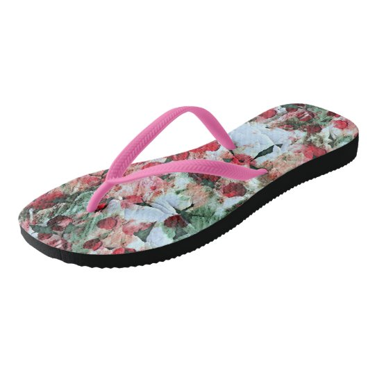 Pink Red Dirty polka Dot Grunge Decay Flip Flops