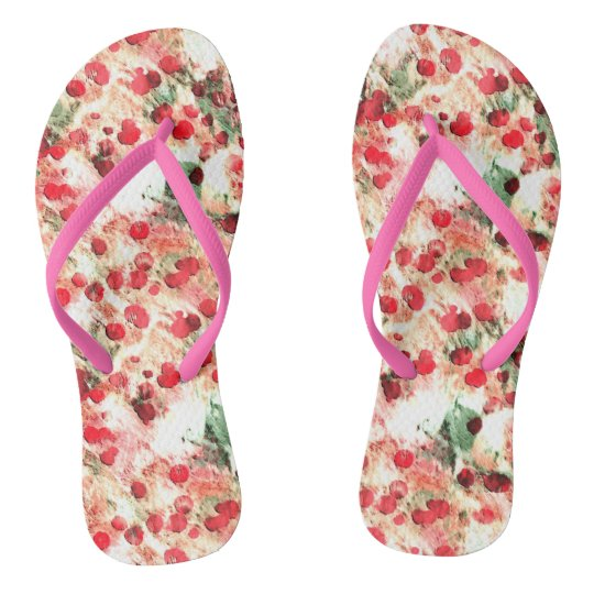 Pink Red Dirty Polka Dot Grunge Flip Flops