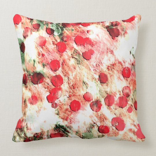 Pink Red Dirty Polka Dot Grunge Throw Pillow