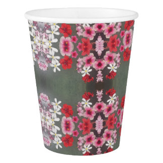 pink red floral paper cup