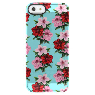 pink red flowers on teal light clear iPhone SE/5/5s case