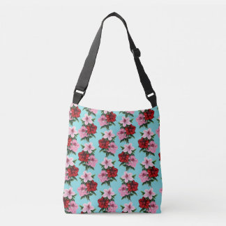 pink red flowers on teal light crossbody bag