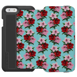 pink red flowers on teal light incipio watson™ iPhone 6 wallet case