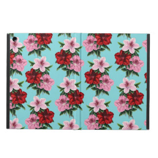 pink red flowers on teal light iPad air case