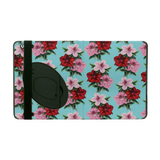 pink red flowers on teal light iPad folio case
