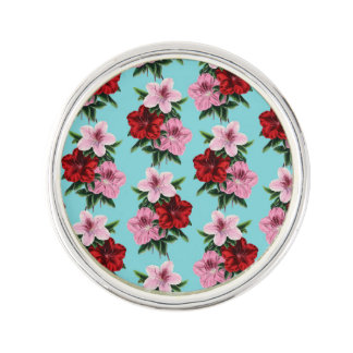 pink red flowers on teal light lapel pin