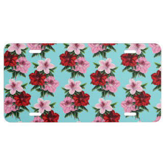 pink red flowers on teal light license plate