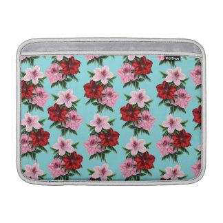 pink red flowers on teal light MacBook sleeve