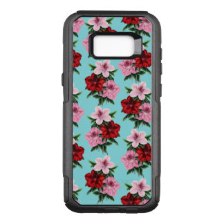 pink red flowers on teal light OtterBox commuter samsung galaxy s8+ case