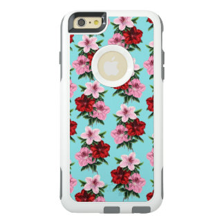 pink red flowers on teal light OtterBox iPhone 6/6s plus case