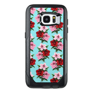 pink red flowers on teal light OtterBox samsung galaxy s7 edge case