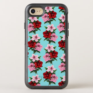 pink red flowers on teal light OtterBox symmetry iPhone 8/7 case