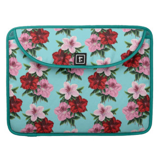 pink red flowers on teal light sleeve for MacBook pro
