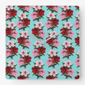 pink red flowers on teal light square wall clock