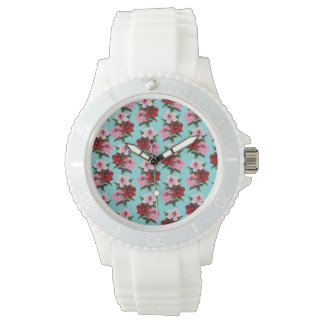 pink red flowers on teal light watch