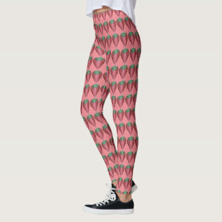 Pink Red Fruit Fruity Berry Strawberry Food Print Leggings