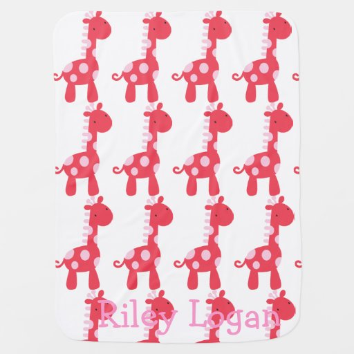 Pink & Red Giraffe Baby Blanket Stroller Blankets