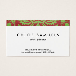 Pink Red & Green Damask Shabby Chic Business Card