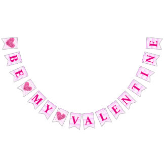 Pink red heart Be my Valentine romantic proposal Bunting Flags