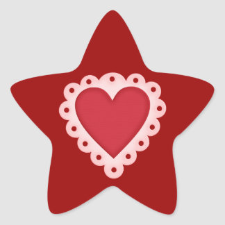 Pink Red Lacy Valentines Day Love Heart Stickers