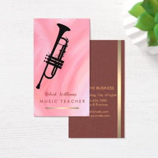 Pink Red Music Trumpet Instrument  Band Musician Business Card