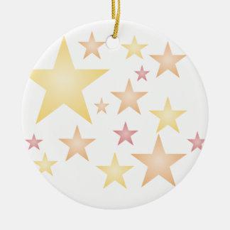 Pink/red/orange stars ceramic ornament