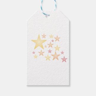 Pink/red/orange stars gift tags