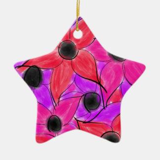 Pink Red Purple Watercolor Flower Black Sketch Ceramic Star Ornament