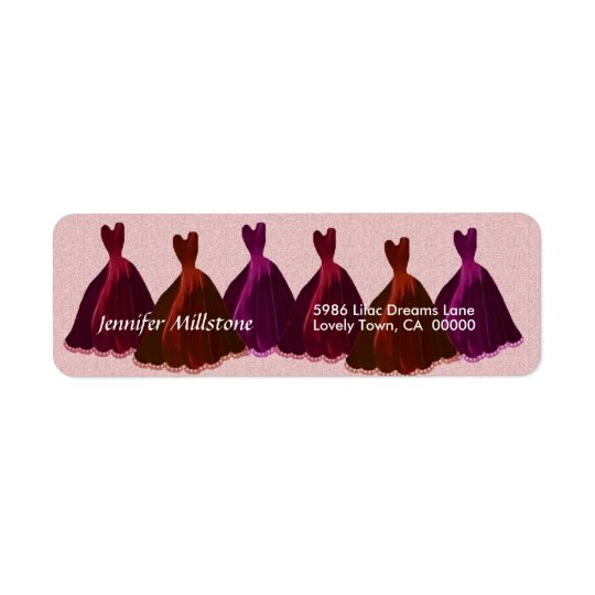 PINK RED PURPLE Wedding Label with Gowns